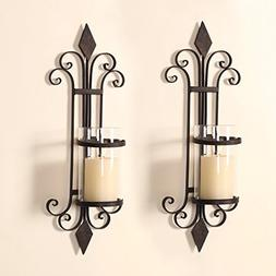 Adeco HD0006 Iron & Glass Vertical Wall Hanging Candle Holde