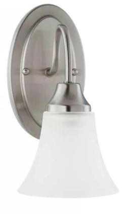 Holman 1-light Brushed Nickel Wall/Bath Sconce with Satin Et