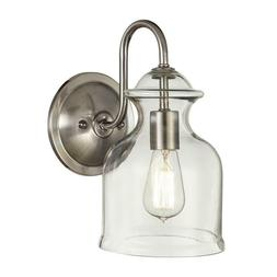 Home Decorators 1-Light Brushed Nickel Wall Sconce w/ Clear