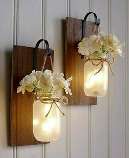 HOT! Mason Jar Wall Sconce Fairy Lights Hanging Rustic Count