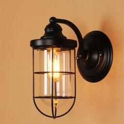 Industrial 1-Light Sconce Lighting Metal Cage Glass Nautical