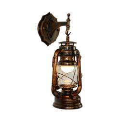 Industrial Antique Wall Sconce Light Copper Lantern Glass Sh