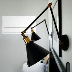Industrial Double Swing Arm Indoor Wall Sconce Metal Shade D