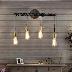 Jiuzhuo Industrial Edison 4 Hanging Bulb Light Vintage Wall