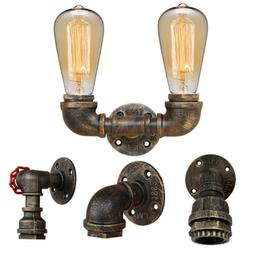 Industrial Iron Water Pipe Wall Light Vintage Steampunk Scon
