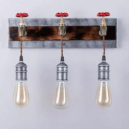 Industrial Metal Water Pipe 3-Light Wall Sconce 110V Indoor