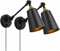 Pauwer Industrial Plug in Wall Sconces Set of 2 with On Off