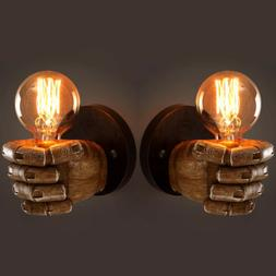 Industrial Resin Fist Wall Light Fixture Edison Lamp Sconce