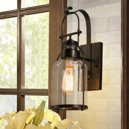 Industrial Rustic Lantern Wall Sconce Light Clear Glass Shad