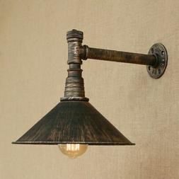 Industrial Rustic Metal Shade Wall Sconce Fixture Arm Wall L