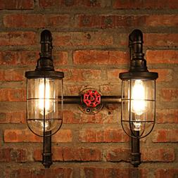 Industrial Nautical Style Bronze Wall Sconce Light with Cage
