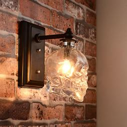 Industrial Skull Glass Shade Wall Sconce Light Bar Cafe Deco
