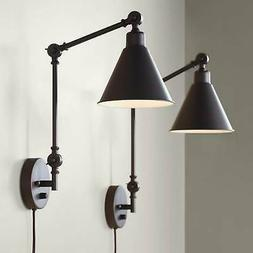 Industrial Swing Arm Wall Lights Set of 2 Lamps Dark Brown S