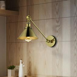 Industrial Vintage Brass Finish Swing Arm Wall Light Lamp Ad