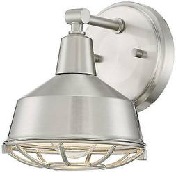 "Industrial Wall Light Sconce Brushed Nickel 15"" Fixture Cage"