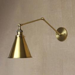 Industrial Wall Sconce Adjustable Arm Brass Finish Wall Ligh