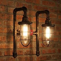 Industrial Wall Sconce Bronze Metal Cage Frame With Glass Sh