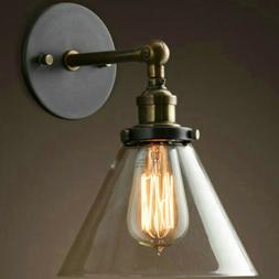 Industrial Wall Sconce Cone Glass Lamp Shade Light Porch Hal