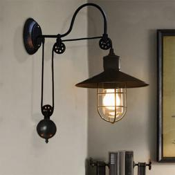Industrial Warehouse Gooseneck Wall Sconce Light Fixture Pul