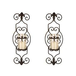 Adeco Iron and Glass Vertical Wall Hanging Candle Holder Sco