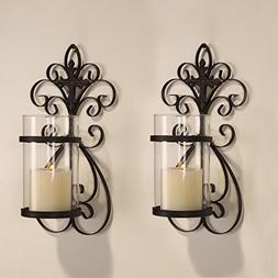 Adeco Iron and Glass Vertical Wall Hanging Scroll and Cross
