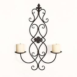 Adeco Iron and Glass Vertical Wall Hanging Fleur De Lis and