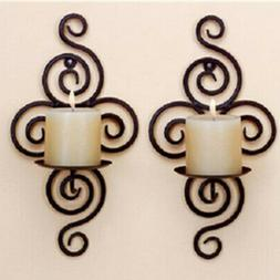 iron scroll candle holder candlestick wall hanging
