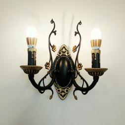Iron Vintage Wall Light Hallway Candle Bulb Wall Sconce  Bed