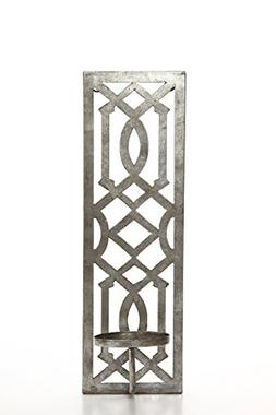 "Hosley 17"" High Iron Wall Pillar Candle Sconce, Antique Silv"