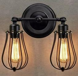 KingSo Wall Sconce 2 Light Metal Industrial Wire Cage Wall L