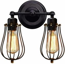 KingSo Wall Sconce 2 Light Metal  Wire Cage Wall Light Fixtu