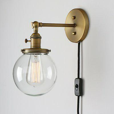 Permo 1-Light Plug In On/Off Switch Wall Sconce with Mini 5.