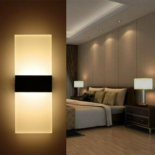 Classic 12W LED Modern Acrylic Wall Light Up Down Cube Sconc