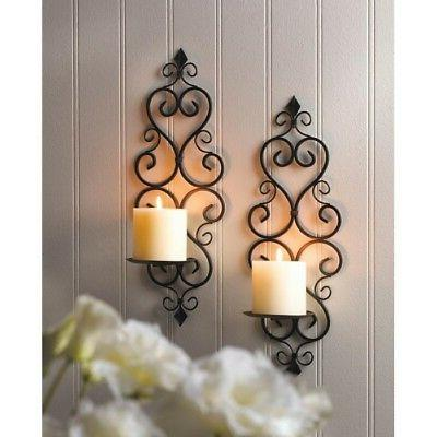 2 Scrollwork Sconce Candle Holder Wall Decor - Set