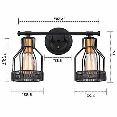 Pauwer 2 Light Vanity Metal Wire Cage Wall