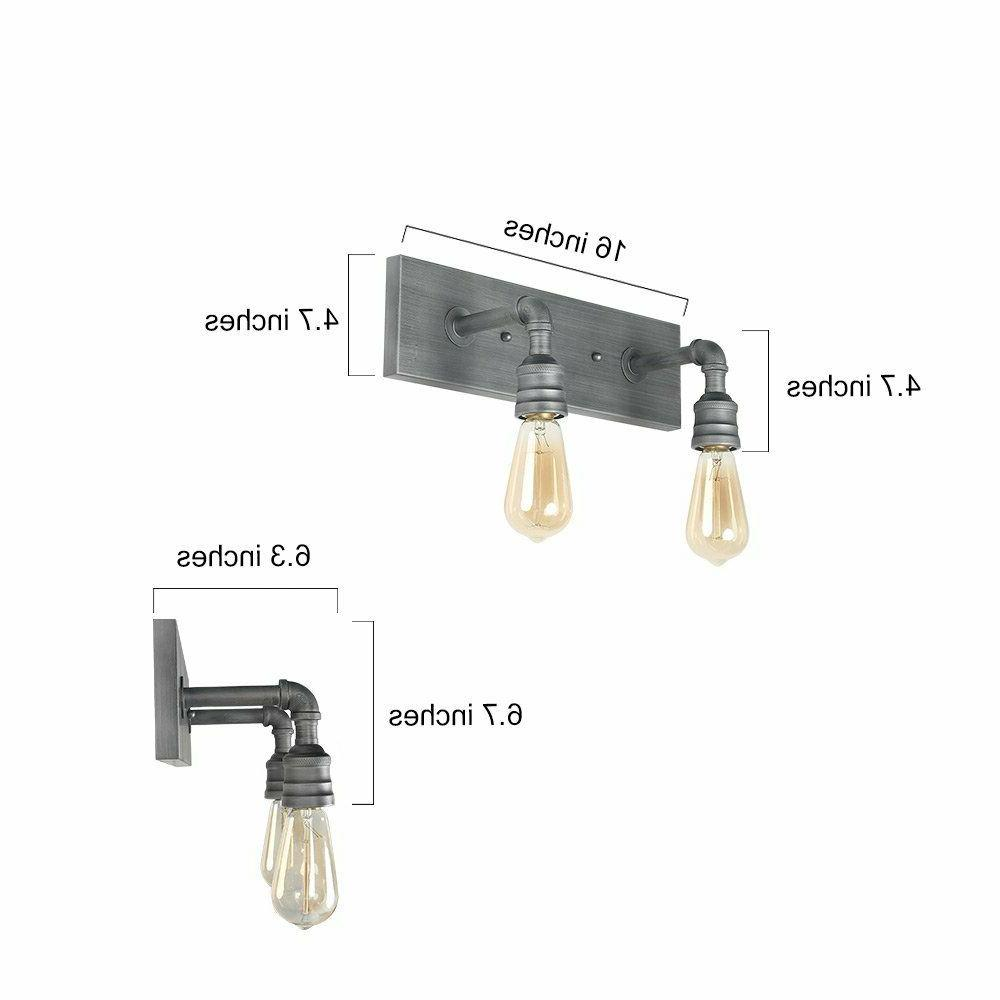 2-Light Vanity Lights Wall Sconce Bathroom Lamp Industrial Sconces
