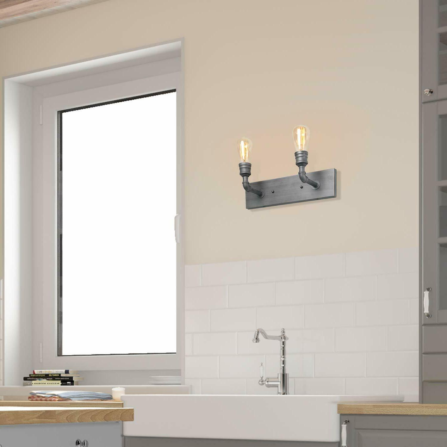 2-Light Sconce Bathroom Wall Lamp Industrial