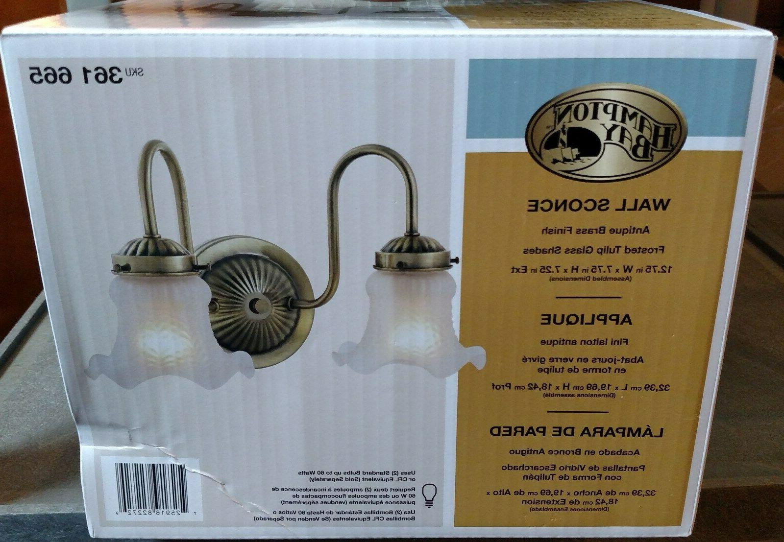 2 light wall sconce antique brass finish