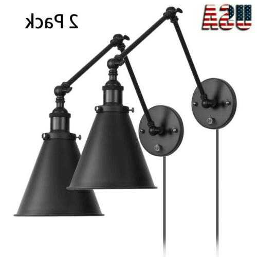 2 lights industrial wall light with on