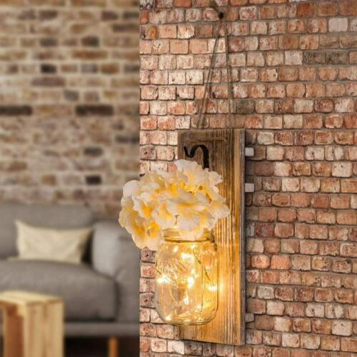 Jar Wall Sconce Fairy Lights Timer Country Decor