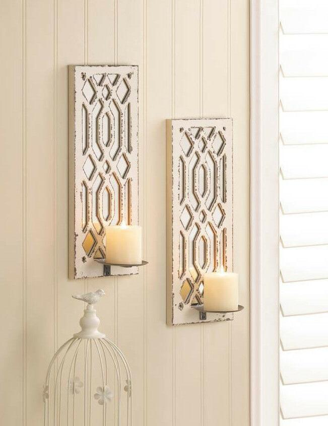 2 set shabby weathered white MIRROR Artisanal Sconce WALL mo