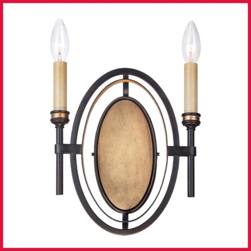 25644 Infinity 2 Light Wall Sconce Rubbed Bronze/Gold