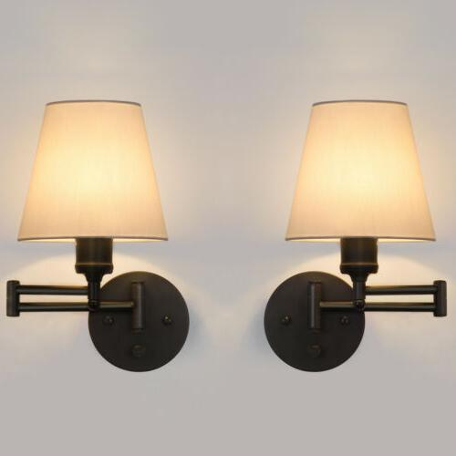 2pcs swing arm wall sconce adjustable wall