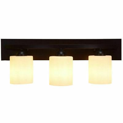 3 Light Glass Wall Sconce Light Lamp Shade Cover Fixture Van