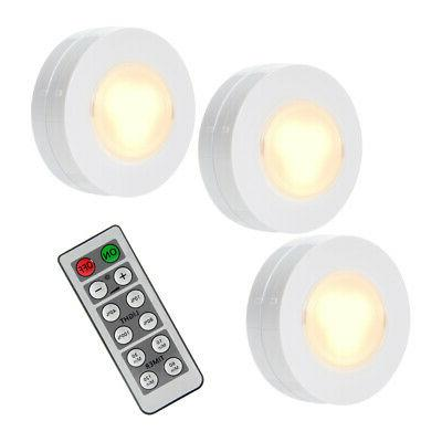 3 Pack LED Puck Under Cabinet Closet Lights Remote Controlle