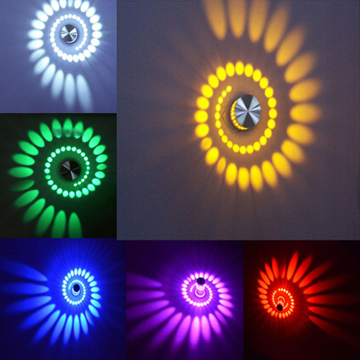 3W RGB Spiral Wall Lamp Remote Sconce Disco