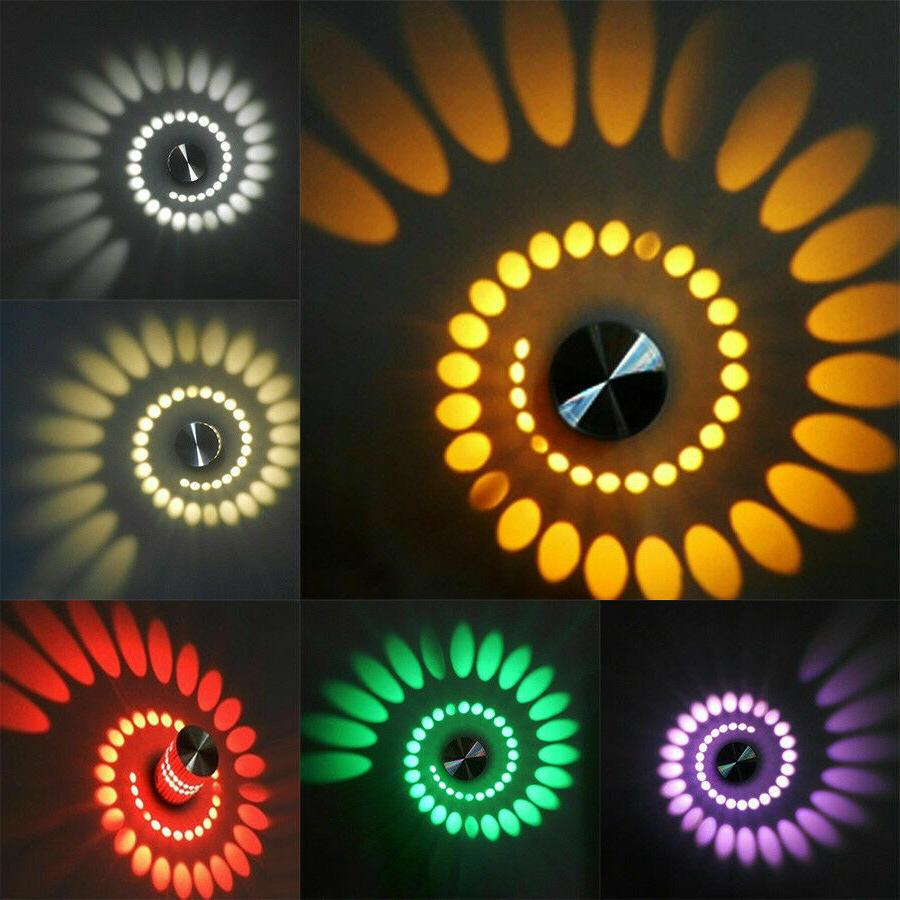 LED Spiral Wall Lamp Sconce Disco Decor 3W