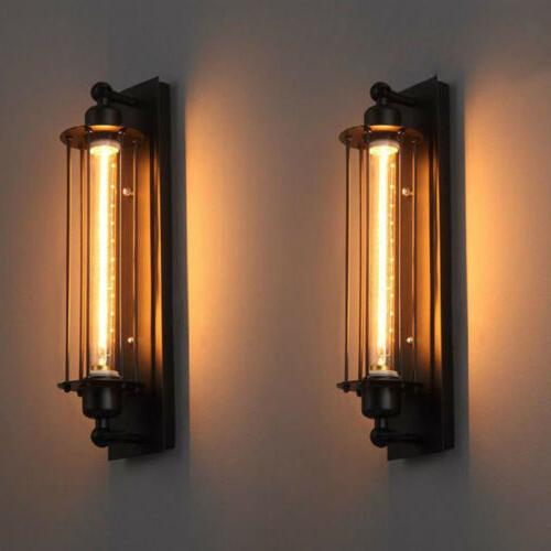 Vintage Wall Lamp Industrial Flute Cage Light Edison Metal W