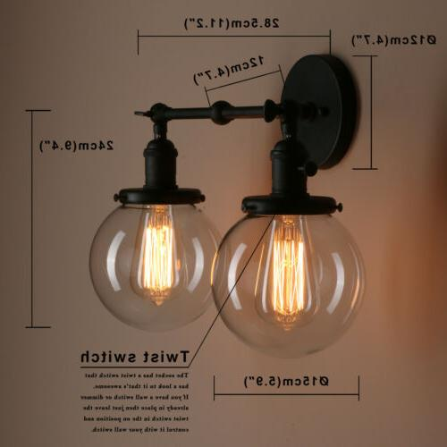 """Pathson 5.9""""Globe Vintage Industrial Double Arm Wall Lamp Sconce"""