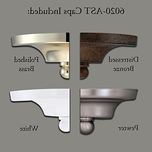 Designers 6020-AST Value Collection Sconces White Accent Caps, Pewter/Distressed Bronze/Polished Brass